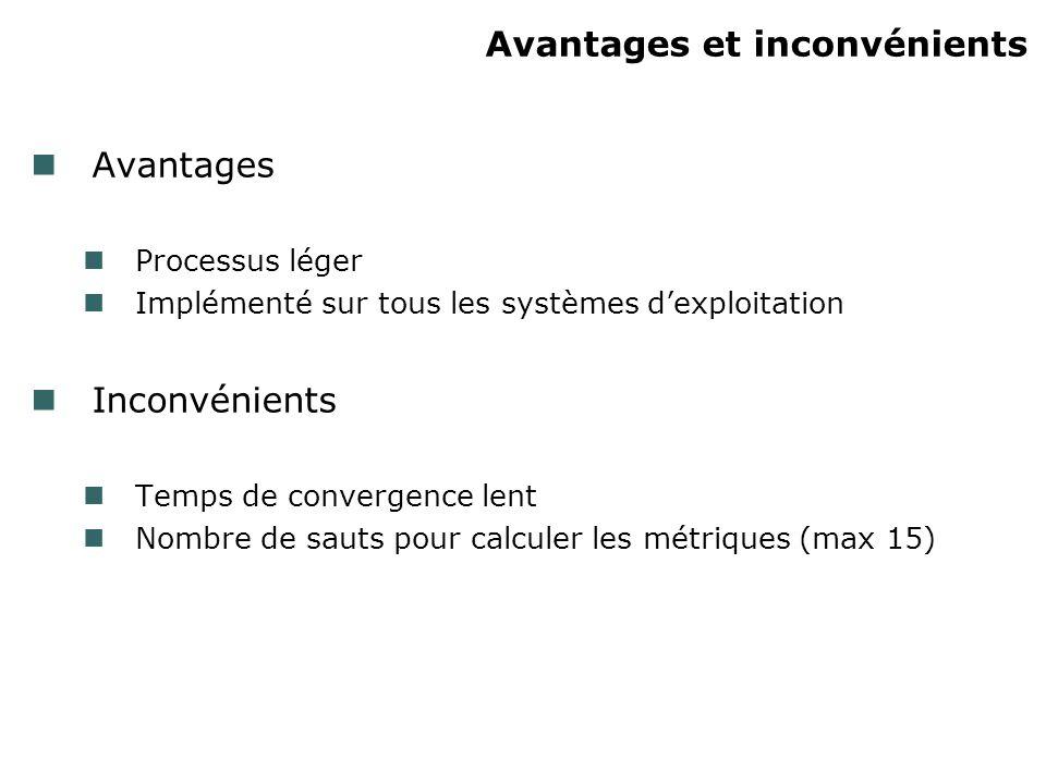 Avantages et inconvénients Avantages Processus léger Implémenté sur tous les systèmes dexploitation Inconvénients Temps de convergence lent Nombre de sauts pour calculer les métriques (max 15)