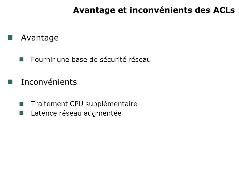 Avantage et inconvénients des ACLs Avantage Fournir une base de sécurité réseau Inconvénients Traitement CPU supplémentaire Latence réseau augmentée