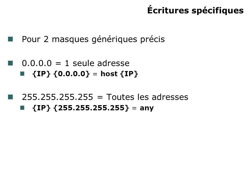 Écritures spécifiques Pour 2 masques génériques précis 0.0.0.0 = 1 seule adresse {IP} {0.0.0.0} = host {IP} 255.255.255.255 = Toutes les adresses {IP}