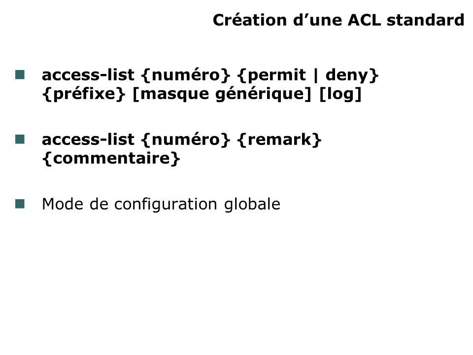 Création dune ACL standard access-list {numéro} {permit | deny} {préfixe} [masque générique] [log] access-list {numéro} {remark} {commentaire} Mode de