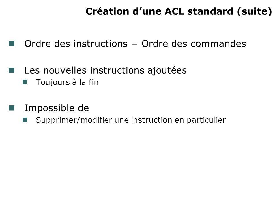 Création dune ACL standard (suite) Ordre des instructions = Ordre des commandes Les nouvelles instructions ajoutées Toujours à la fin Impossible de Su