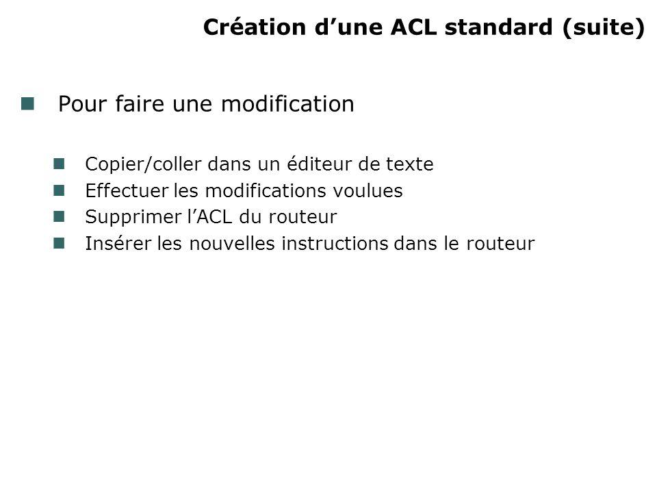 Création dune ACL standard (suite) Pour faire une modification Copier/coller dans un éditeur de texte Effectuer les modifications voulues Supprimer lACL du routeur Insérer les nouvelles instructions dans le routeur