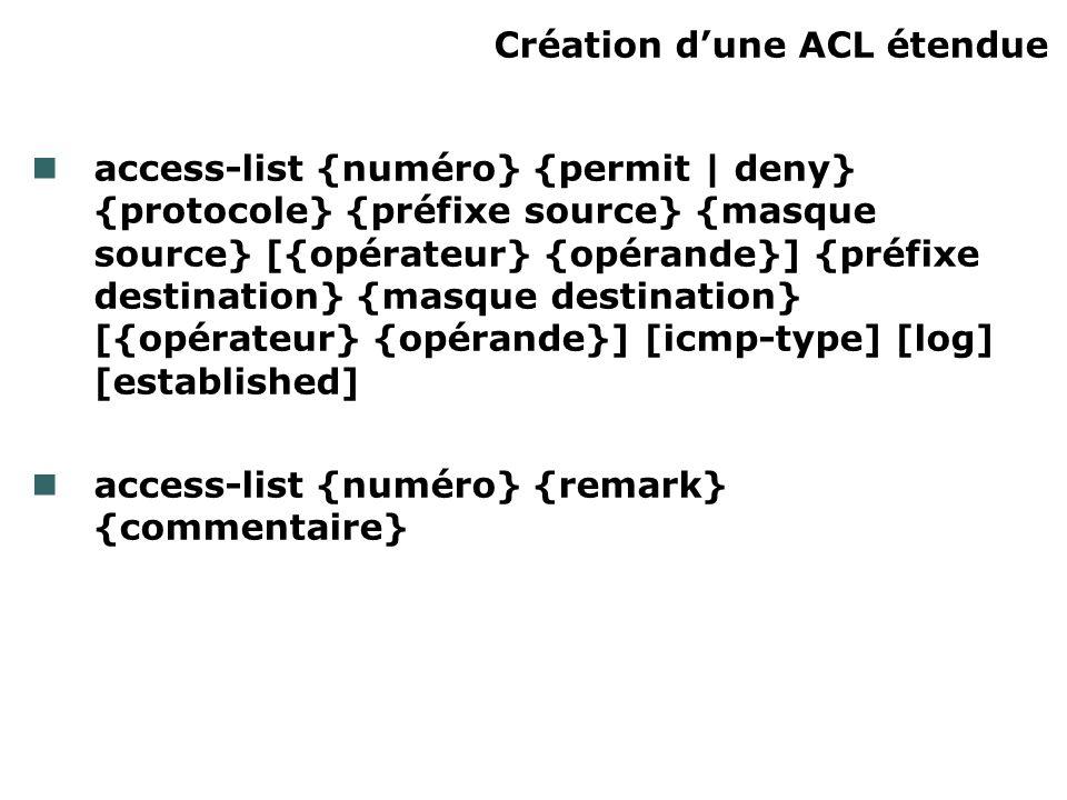 Création dune ACL étendue access-list {numéro} {permit | deny} {protocole} {préfixe source} {masque source} [{opérateur} {opérande}] {préfixe destination} {masque destination} [{opérateur} {opérande}] [icmp-type] [log] [established] access-list {numéro} {remark} {commentaire}