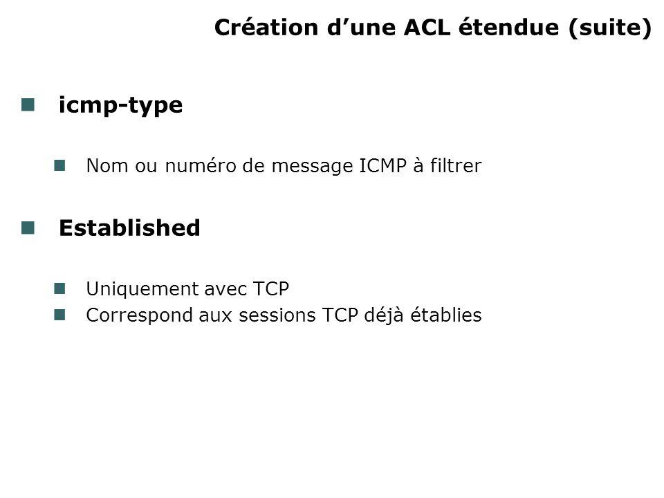 Création dune ACL étendue (suite) icmp-type Nom ou numéro de message ICMP à filtrer Established Uniquement avec TCP Correspond aux sessions TCP déjà établies
