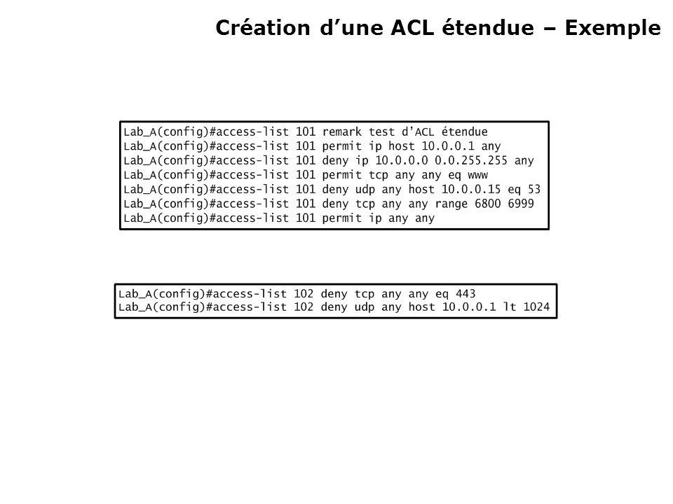 Création dune ACL étendue – Exemple