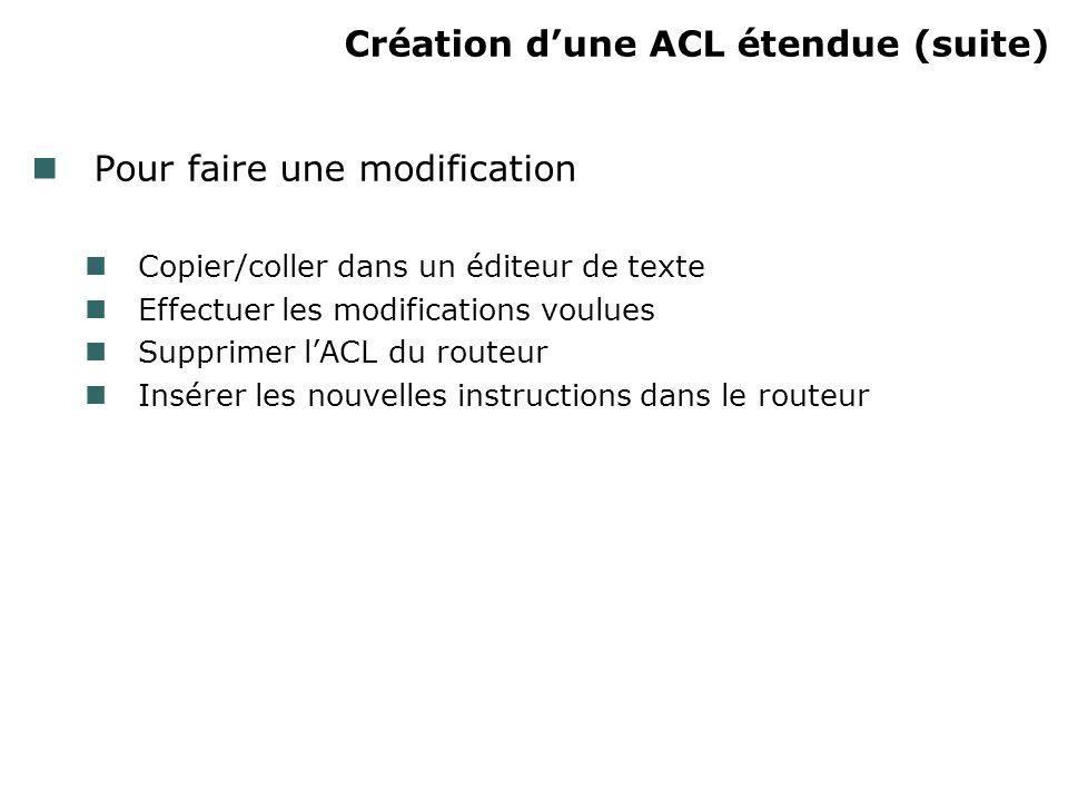 Création dune ACL étendue (suite) Pour faire une modification Copier/coller dans un éditeur de texte Effectuer les modifications voulues Supprimer lACL du routeur Insérer les nouvelles instructions dans le routeur