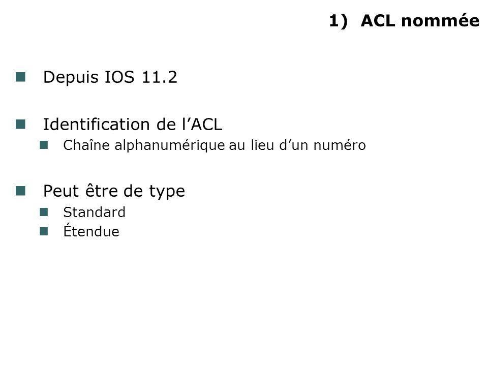 1)ACL nommée Depuis IOS 11.2 Identification de lACL Chaîne alphanumérique au lieu dun numéro Peut être de type Standard Étendue
