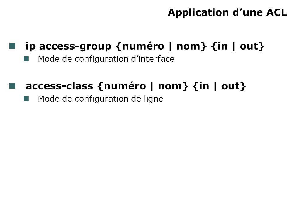 Application dune ACL ip access-group {numéro | nom} {in | out} Mode de configuration dinterface access-class {numéro | nom} {in | out} Mode de configuration de ligne