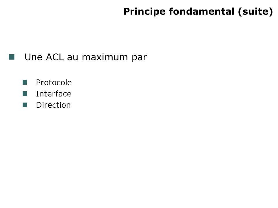 Création dune ACL étendue (suite) Protocole Nom (IP, TCP, UDP, etc.) ou numéro (de 0 à 255) de protocole