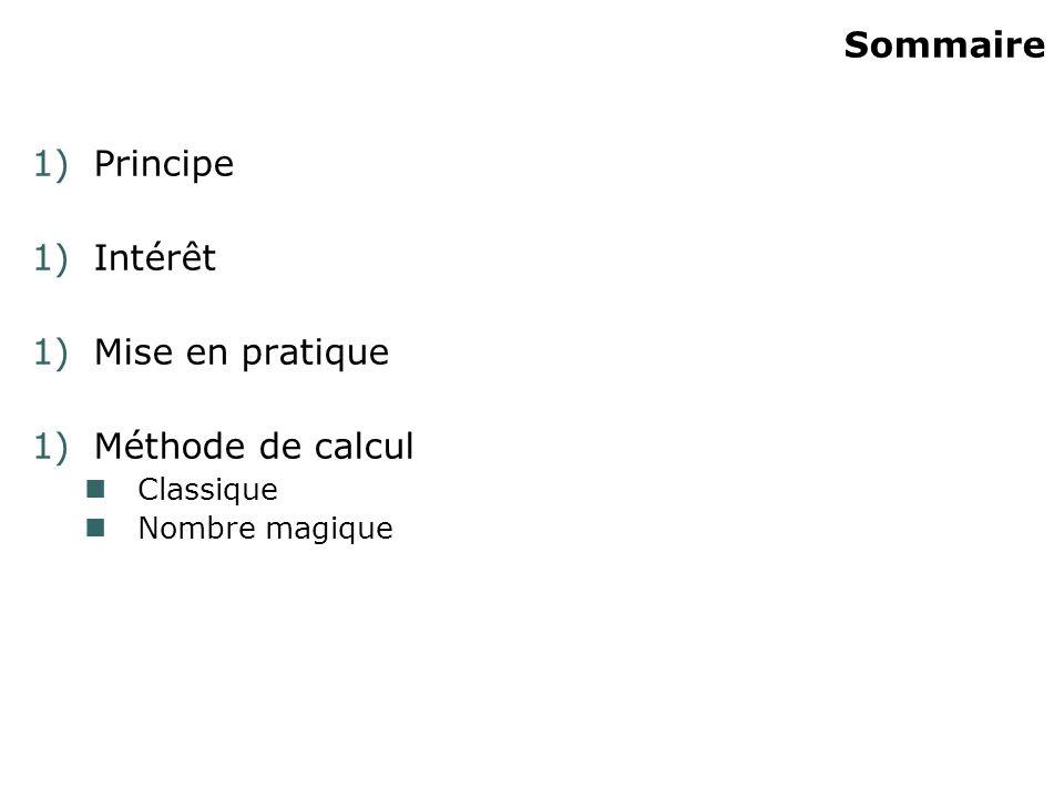 Sommaire 1)Principe 1)Intérêt 1)Mise en pratique 1)Méthode de calcul Classique Nombre magique