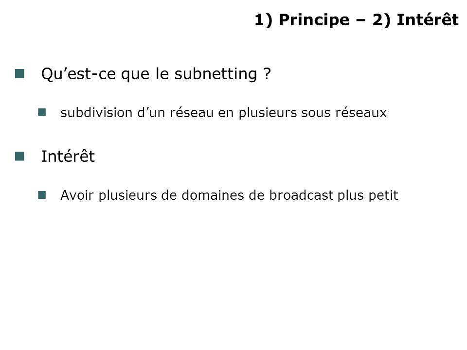 1) Principe – 2) Intérêt Quest-ce que le subnetting ? subdivision dun réseau en plusieurs sous réseaux Intérêt Avoir plusieurs de domaines de broadcas
