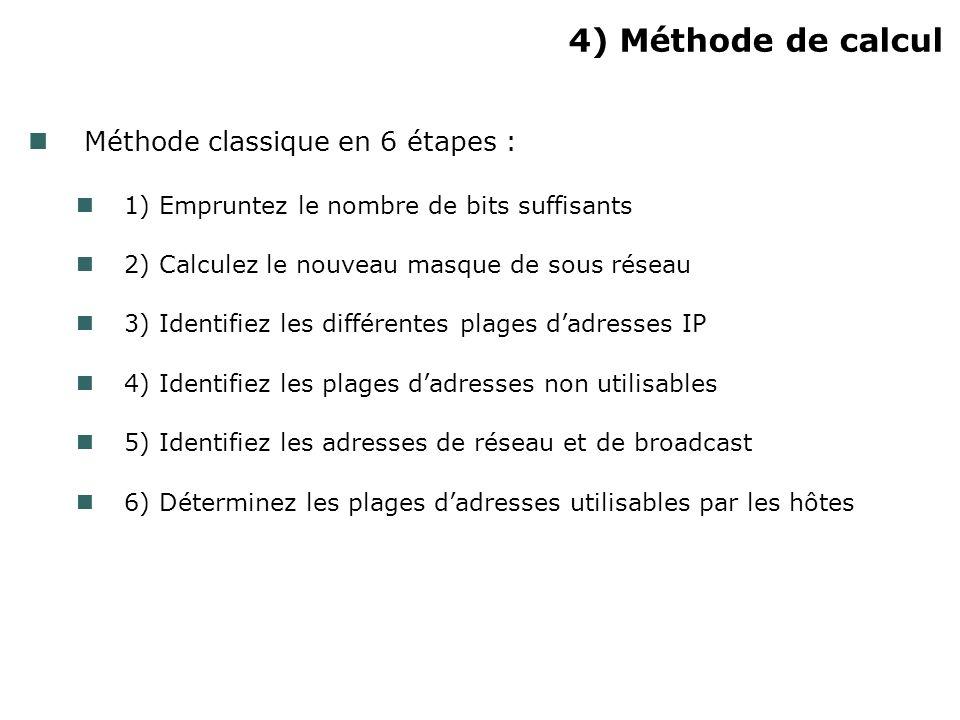 4) Méthode de calcul Méthode classique en 6 étapes : 1) Empruntez le nombre de bits suffisants 2) Calculez le nouveau masque de sous réseau 3) Identif