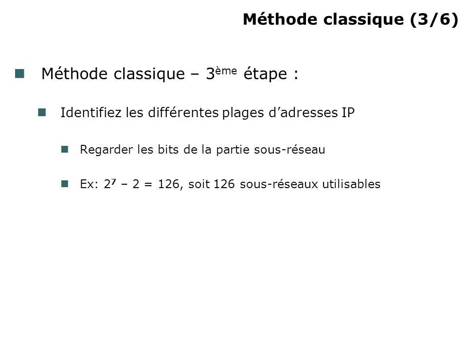 Méthode classique (3/6) Méthode classique – 3 ème étape : Identifiez les différentes plages dadresses IP Regarder les bits de la partie sous-réseau Ex