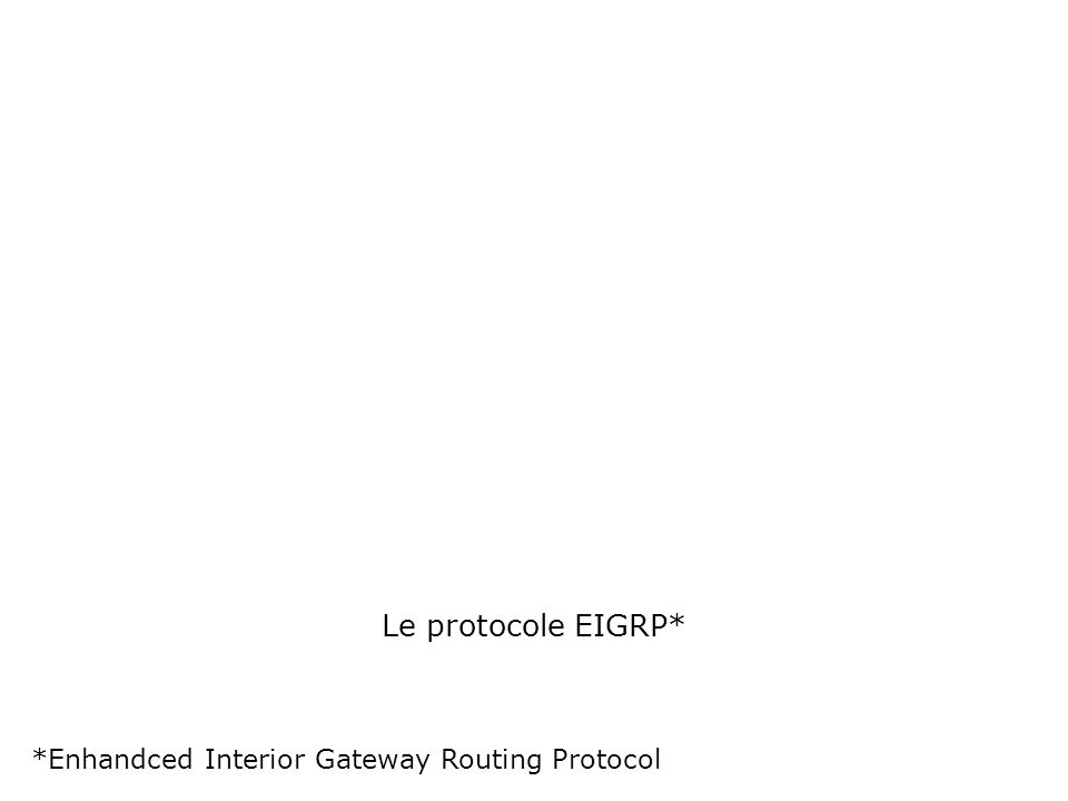 Le protocole EIGRP* *Enhandced Interior Gateway Routing Protocol