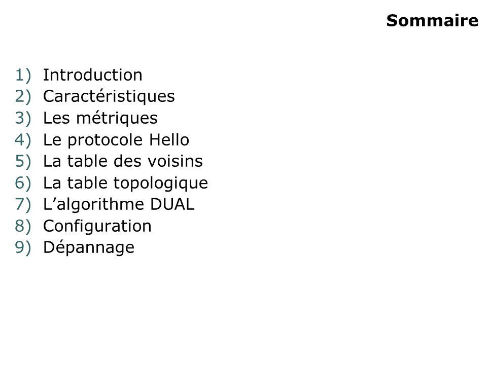 Sommaire 1)Introduction 2)Caractéristiques 3)Les métriques 4)Le protocole Hello 5)La table des voisins 6)La table topologique 7)Lalgorithme DUAL 8)Con