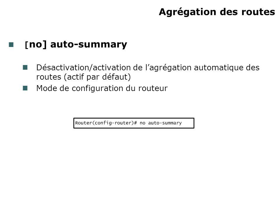 Agrégation des routes [ no] auto-summary Désactivation/activation de lagrégation automatique des routes (actif par défaut) Mode de configuration du ro