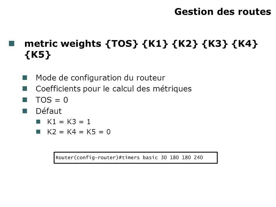 Gestion des routes metric weights {TOS} {K1} {K2} {K3} {K4} {K5} Mode de configuration du routeur Coefficients pour le calcul des métriques TOS = 0 Dé