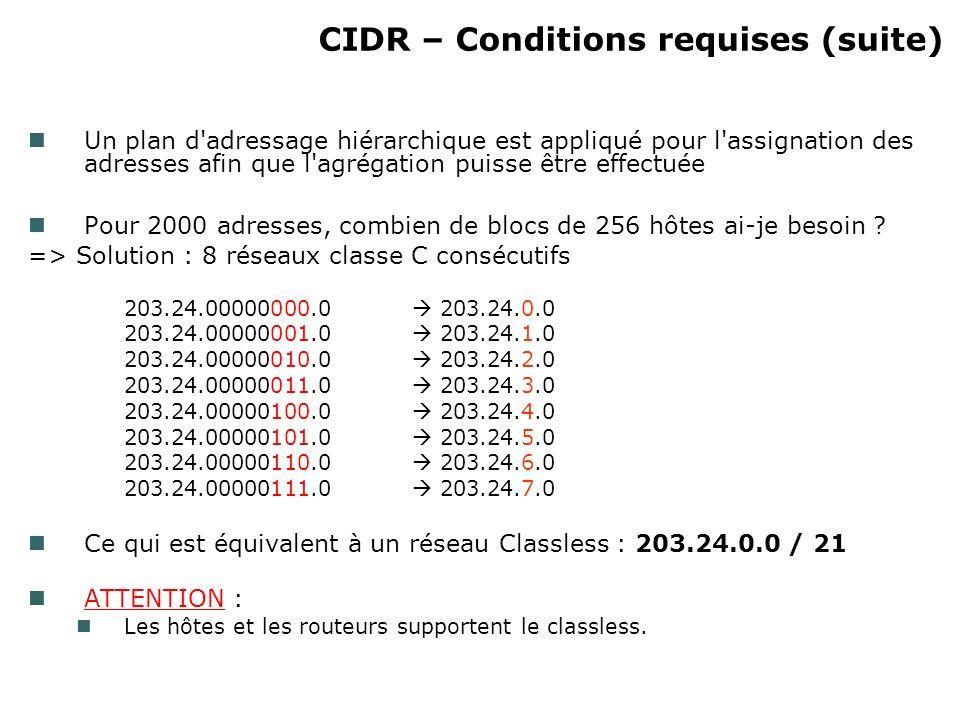 CIDR – Conditions requises (suite) Un plan d adressage hiérarchique est appliqué pour l assignation des adresses afin que l agrégation puisse être effectuée Pour 2000 adresses, combien de blocs de 256 hôtes ai-je besoin .