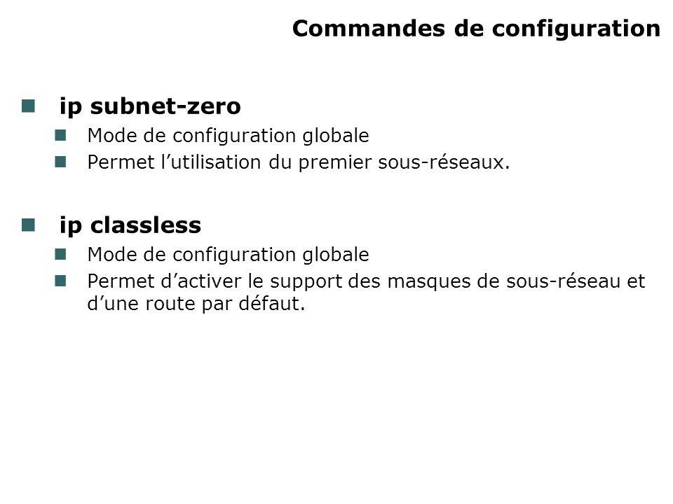Commandes de configuration ip subnet-zero Mode de configuration globale Permet lutilisation du premier sous-réseaux.