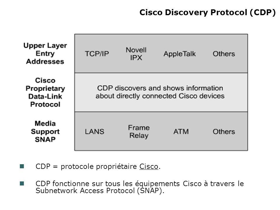 Cisco Discovery Protocol (CDP) CDP = protocole propriétaire Cisco. CDP fonctionne sur tous les équipements Cisco à travers le Subnetwork Access Protoc