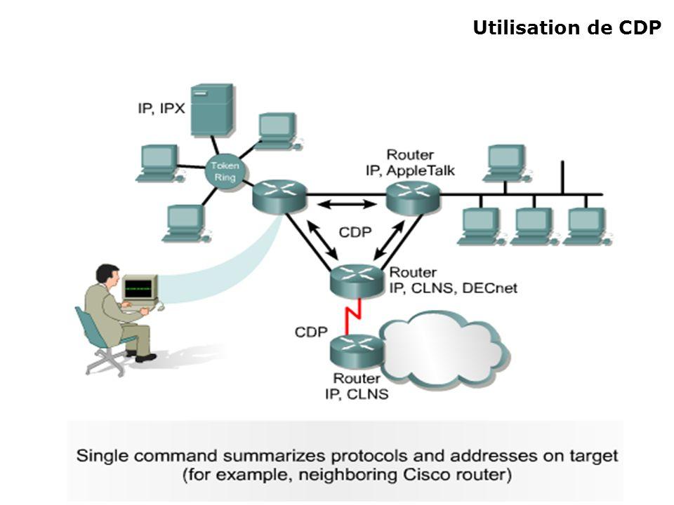 Informations fournies par CDP ID de dispositif : Nom dhôte et/ou nom de domaine (Hostname) Liste dadresses : Une adresse par protocole de couche 3 affichée.