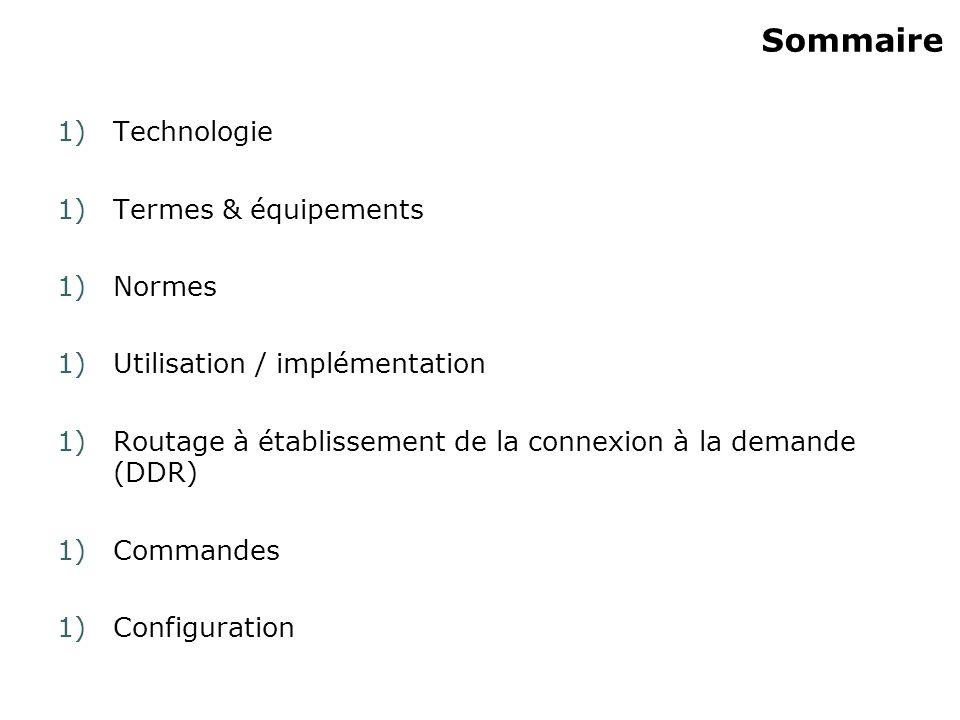 Sommaire 1)Technologie 1)Termes & équipements 1)Normes 1)Utilisation / implémentation 1)Routage à établissement de la connexion à la demande (DDR) 1)C