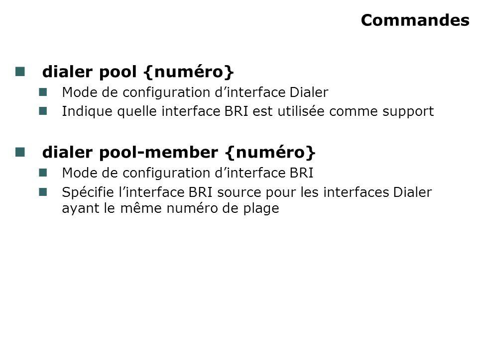 Commandes dialer pool {numéro} Mode de configuration dinterface Dialer Indique quelle interface BRI est utilisée comme support dialer pool-member {num