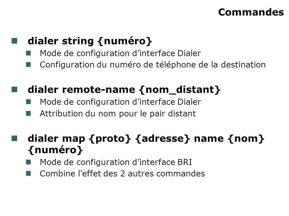 Commandes dialer string {numéro} Mode de configuration dinterface Dialer Configuration du numéro de téléphone de la destination dialer remote-name {no