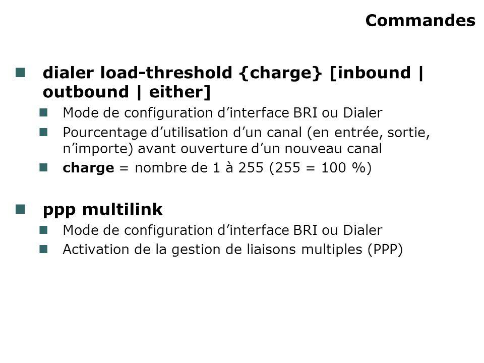 Commandes dialer load-threshold {charge} [inbound | outbound | either] Mode de configuration dinterface BRI ou Dialer Pourcentage dutilisation dun can