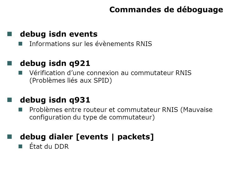 Commandes de déboguage debug isdn events Informations sur les évènements RNIS debug isdn q921 Vérification dune connexion au commutateur RNIS (Problèm