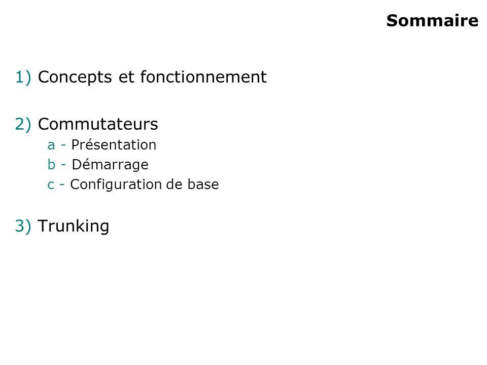 Sommaire 1) Concepts et fonctionnement 2) Commutateurs a - Présentation b - Démarrage c - Configuration de base 3) Trunking