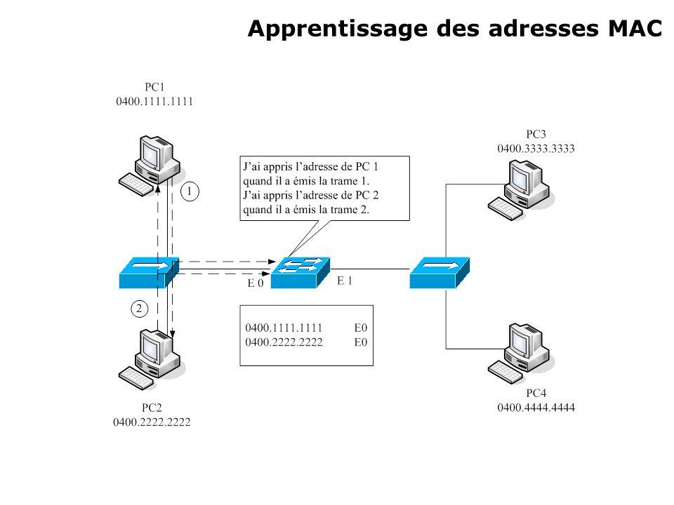 Apprentissage des adresses MAC