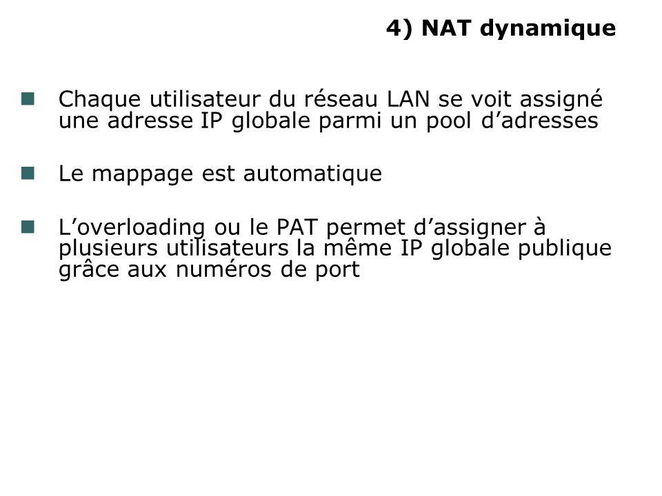 4) NAT dynamique Chaque utilisateur du réseau LAN se voit assigné une adresse IP globale parmi un pool dadresses Le mappage est automatique Loverloading ou le PAT permet dassigner à plusieurs utilisateurs la même IP globale publique grâce aux numéros de port