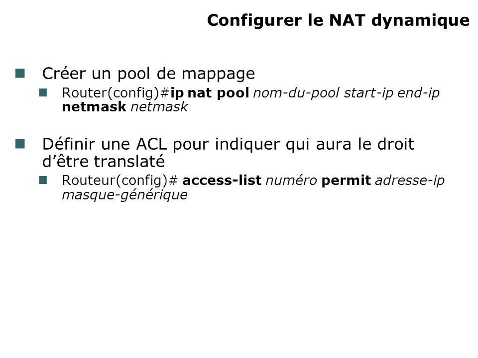 Configurer le NAT dynamique Créer un pool de mappage Router(config)#ip nat pool nom-du-pool start-ip end-ip netmask netmask Définir une ACL pour indiquer qui aura le droit dêtre translaté Routeur(config)# access-list numéro permit adresse-ip masque-générique