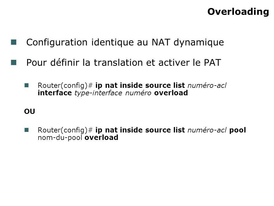 Overloading Configuration identique au NAT dynamique Pour définir la translation et activer le PAT Router(config)# ip nat inside source list numéro-acl interface type-interface numéro overload OU Router(config)# ip nat inside source list numéro-acl pool nom-du-pool overload
