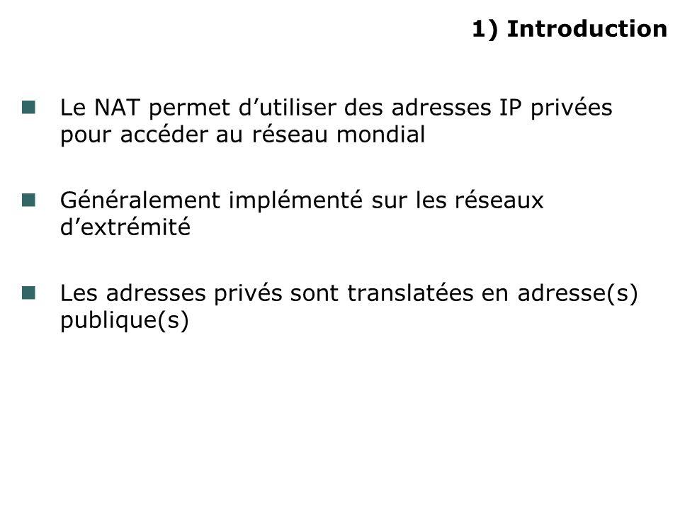 1) Introduction Le NAT permet dutiliser des adresses IP privées pour accéder au réseau mondial Généralement implémenté sur les réseaux dextrémité Les adresses privés sont translatées en adresse(s) publique(s)