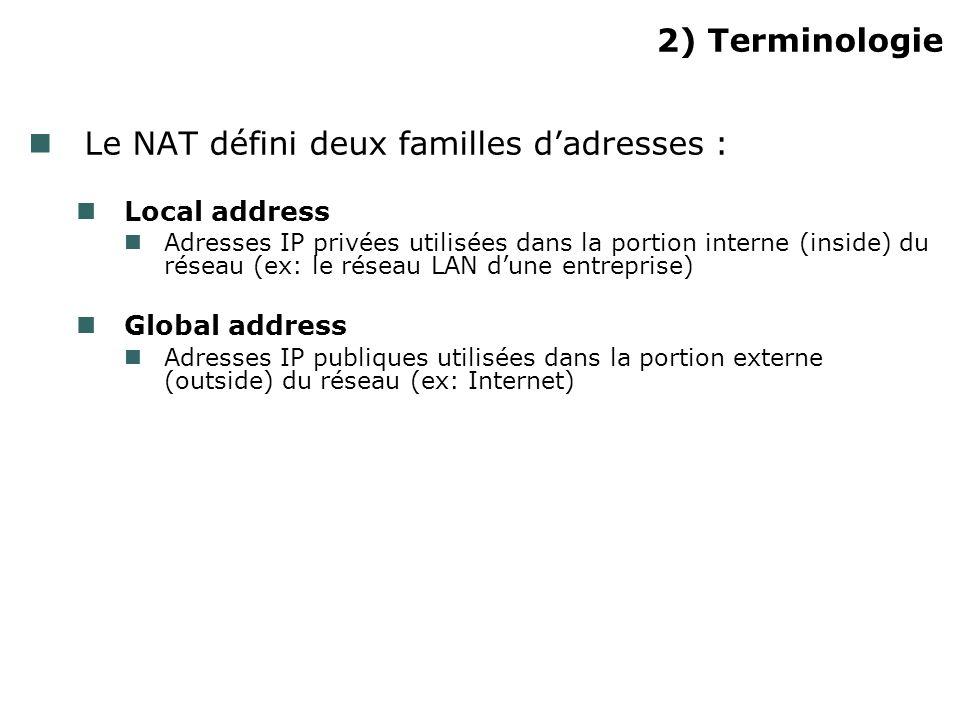 2) Terminologie Le NAT défini deux familles dadresses : Local address Adresses IP privées utilisées dans la portion interne (inside) du réseau (ex: le réseau LAN dune entreprise) Global address Adresses IP publiques utilisées dans la portion externe (outside) du réseau (ex: Internet)
