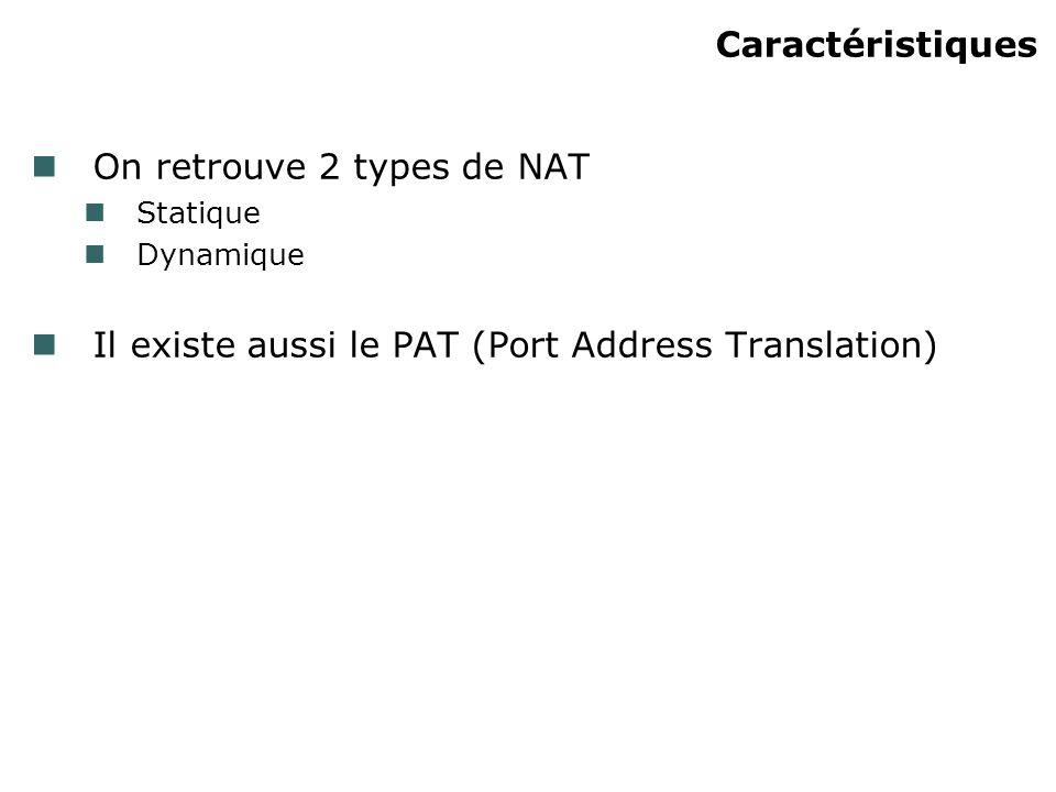 3) NAT statique Utile pour mapper des inside local address avec une global inside address Utilisé pour des serveurs locaux devant être accessible de lInternet