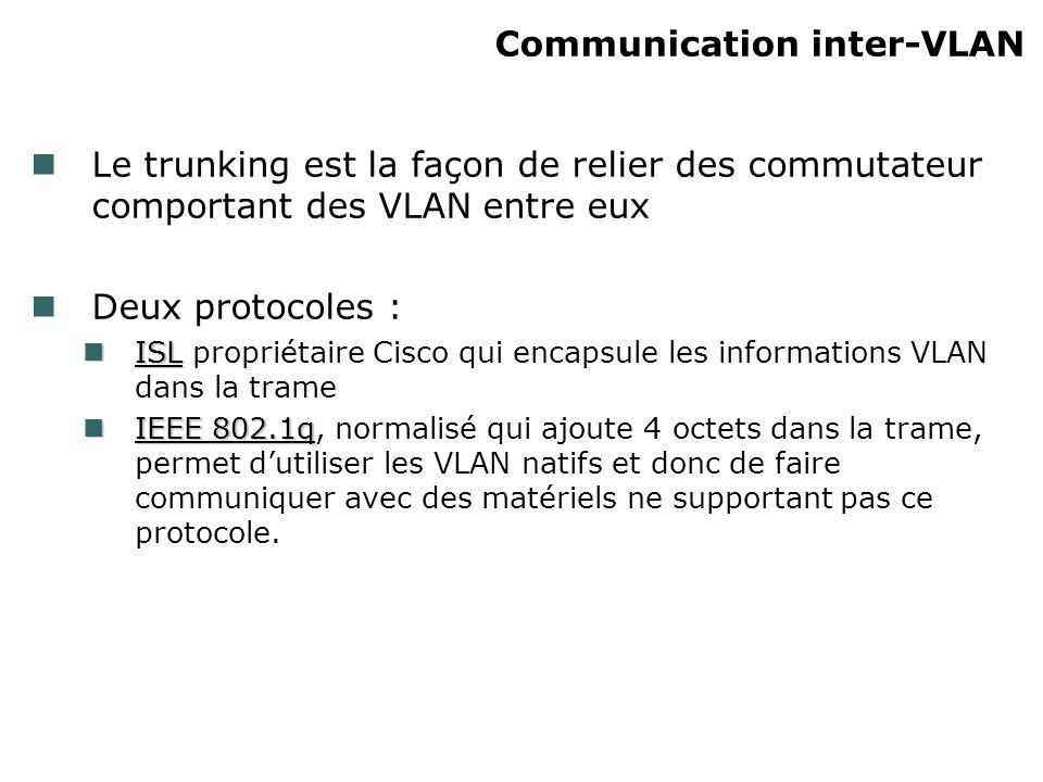 Communication inter-VLAN Le trunking est la façon de relier des commutateur comportant des VLAN entre eux Deux protocoles : ISL ISL propriétaire Cisco qui encapsule les informations VLAN dans la trame IEEE 802.1q IEEE 802.1q, normalisé qui ajoute 4 octets dans la trame, permet dutiliser les VLAN natifs et donc de faire communiquer avec des matériels ne supportant pas ce protocole.