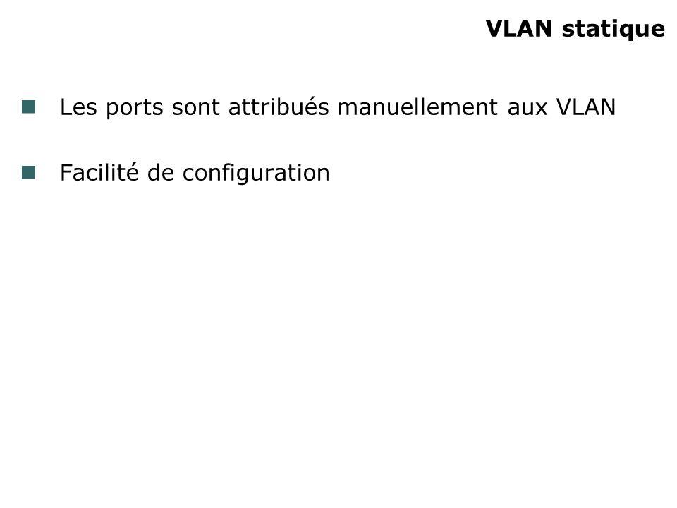 VLAN statique Les ports sont attribués manuellement aux VLAN Facilité de configuration