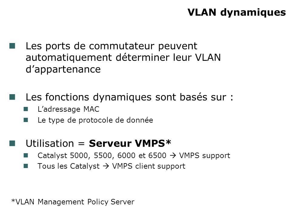 VLAN dynamiques Les ports de commutateur peuvent automatiquement déterminer leur VLAN dappartenance Les fonctions dynamiques sont basés sur : Ladressage MAC Le type de protocole de donnée Utilisation = Serveur VMPS* Catalyst 5000, 5500, 6000 et 6500 VMPS support Tous les Catalyst VMPS client support *VLAN Management Policy Server