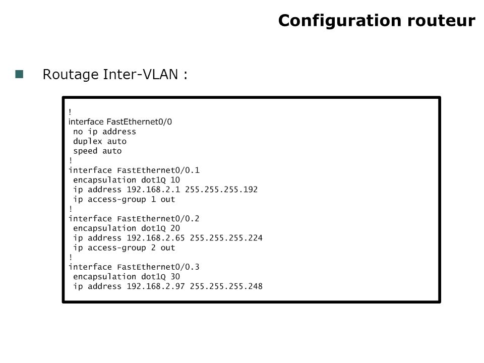 Configuration routeur Routage Inter-VLAN :