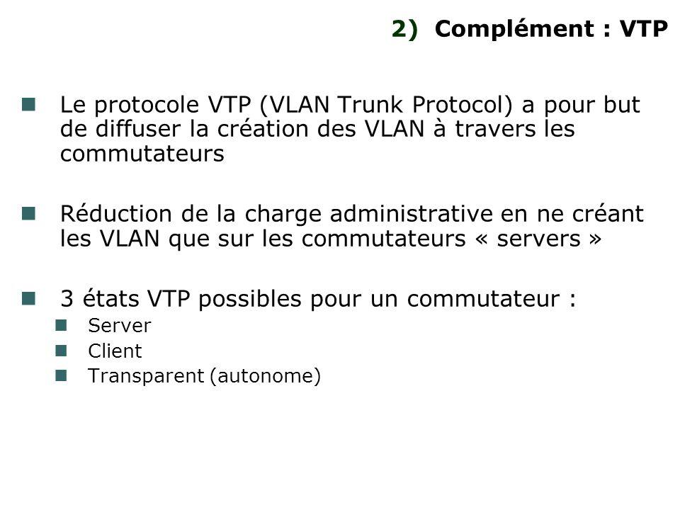 2) Complément : VTP Le protocole VTP (VLAN Trunk Protocol) a pour but de diffuser la création des VLAN à travers les commutateurs Réduction de la char