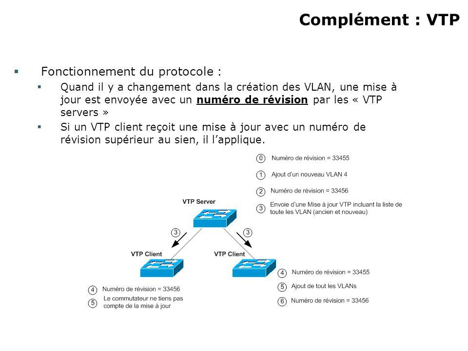 Complément : VTP Fonctionnement du protocole : Quand il y a changement dans la création des VLAN, une mise à jour est envoyée avec un numéro de révision par les « VTP servers » Si un VTP client reçoit une mise à jour avec un numéro de révision supérieur au sien, il lapplique.