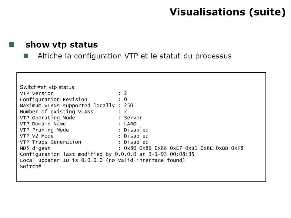 Visualisations (suite) show vtp status Affiche la configuration VTP et le statut du processus