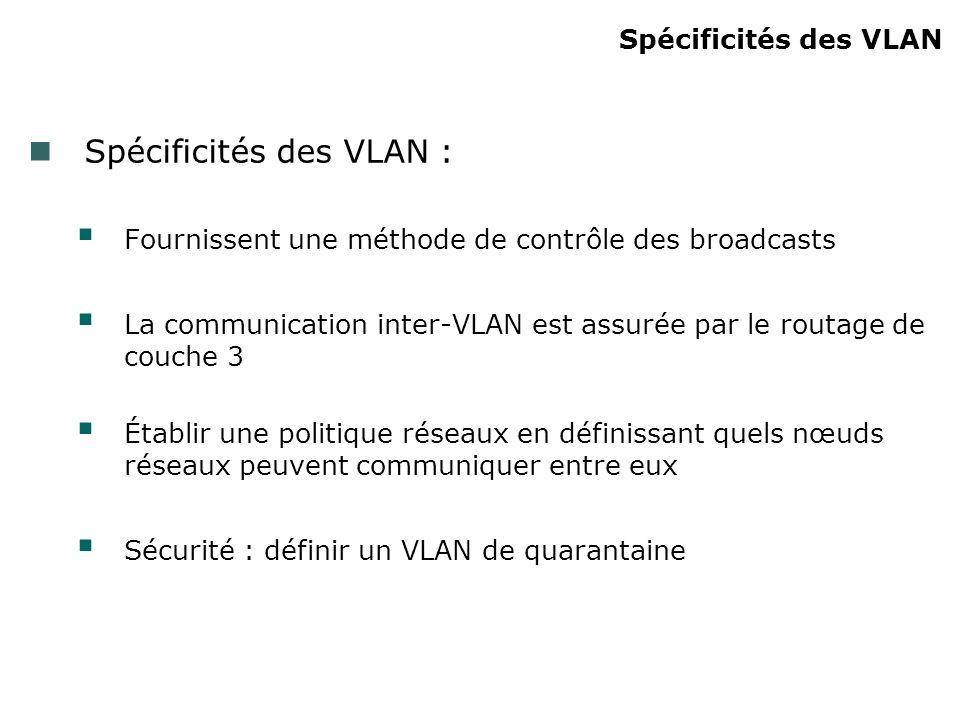 Spécificités des VLAN Spécificités des VLAN : Fournissent une méthode de contrôle des broadcasts La communication inter-VLAN est assurée par le routage de couche 3 Établir une politique réseaux en définissant quels nœuds réseaux peuvent communiquer entre eux Sécurité : définir un VLAN de quarantaine