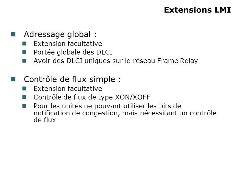 Extensions LMI Adressage global : Extension facultative Portée globale des DLCI Avoir des DLCI uniques sur le réseau Frame Relay Contrôle de flux simp
