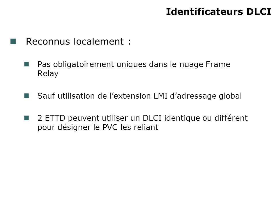 Reconnus localement : Pas obligatoirement uniques dans le nuage Frame Relay Sauf utilisation de lextension LMI dadressage global 2 ETTD peuvent utiliser un DLCI identique ou différent pour désigner le PVC les reliant