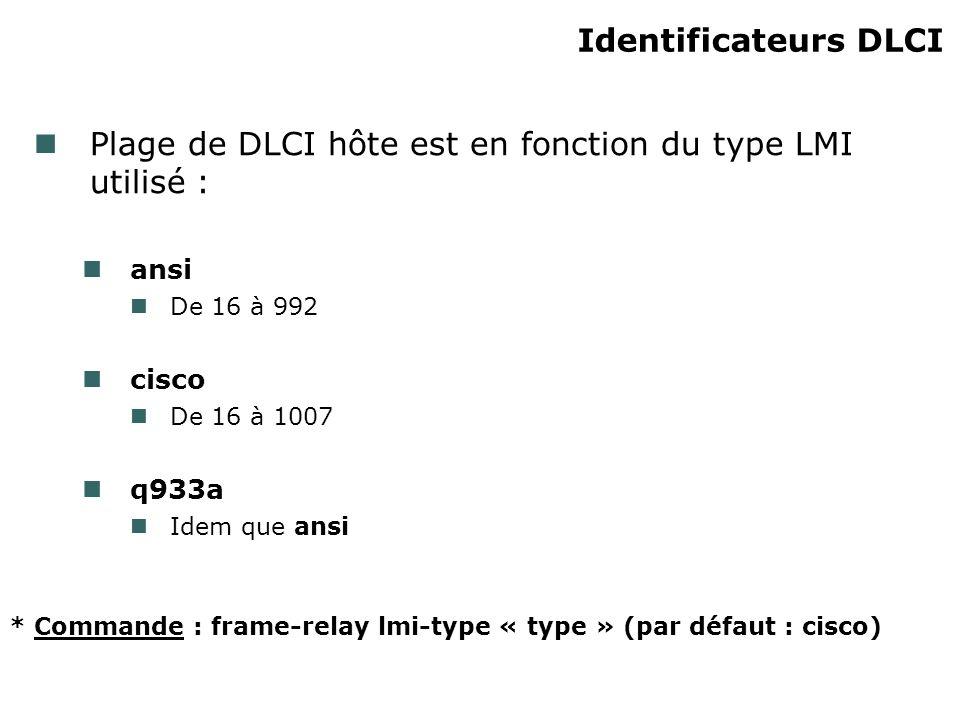 Identificateurs DLCI Plage de DLCI hôte est en fonction du type LMI utilisé : ansi De 16 à 992 cisco De 16 à 1007 q933a Idem que ansi * Commande : frame-relay lmi-type « type » (par défaut : cisco)
