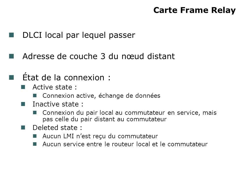 Carte Frame Relay DLCI local par lequel passer Adresse de couche 3 du nœud distant État de la connexion : Active state : Connexion active, échange de